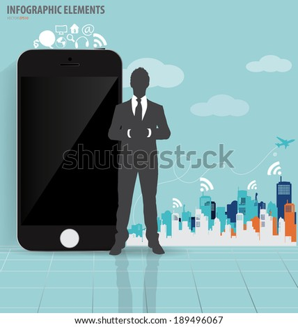 Businessman and touchscreen device with building background. Vector illustration. - stock vector