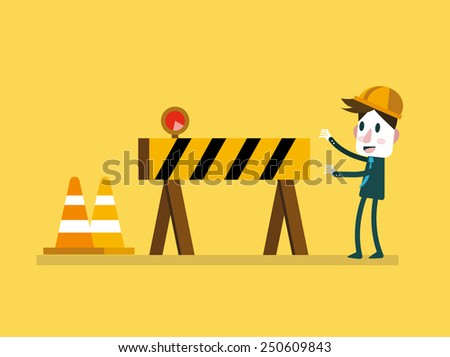 Businessman and Under Construction sign. vector illustration - stock vector