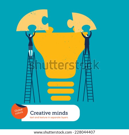 Businessman and woman completing a bulb puzzle. Vector illustration Eps10 file. Global colors. Text and Texture in separate layers. - stock vector