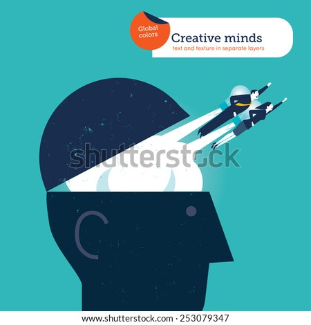 Businessman and woman flying out from a head with bulb rockets. Vector illustration Eps10 file. Global colors. Text and Texture in separate layers. - stock vector