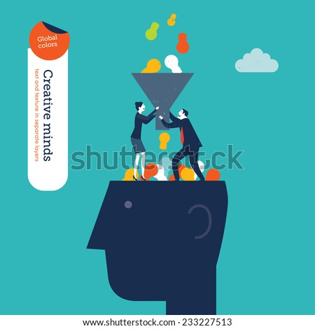 Businessman and woman with funnel filling a head with bulbs. Vector illustration Eps10 file. Global colors. Text and Texture in separate layers. - stock vector