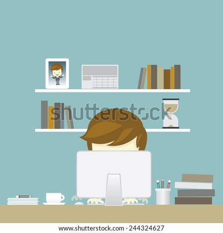 businessman and work space, vector illustration - stock vector