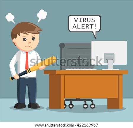 businessman angry with virus in his computer - stock vector