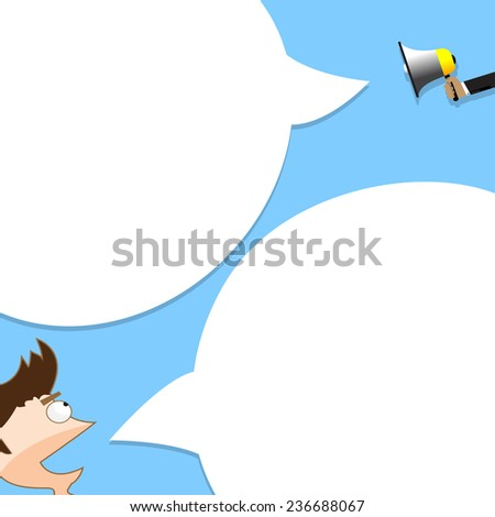 businessman announced through a megaphone, and the person responsible - stock vector