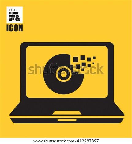 Businessman application for a job icon-Laptop cd burn vector icon - stock vector