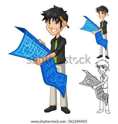 Businessman Architect Holding Blue Print Map Plan Cartoon Character Include Flat Design and Line Art Version Vector Illustration - stock vector