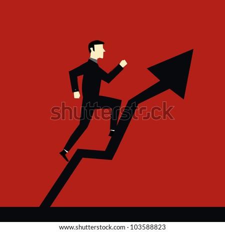 Businessman Arrow Up - stock vector