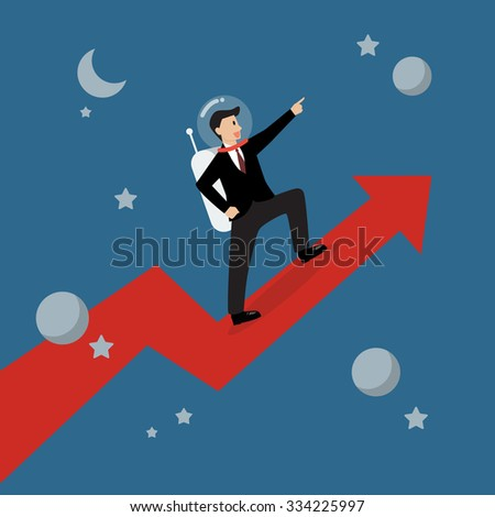 Businessman astronaut standing on a growing graph. Business Growth Concept - stock vector