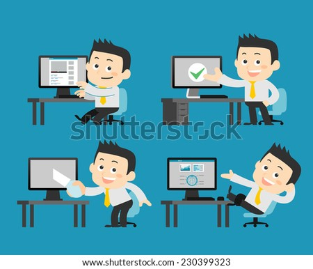 businessman at computer set - stock vector