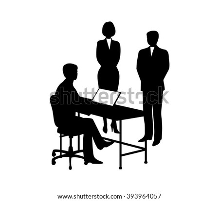 Businessman at his desk with a computer It gives   guidance subordinate.Black on  white background  - stock vector