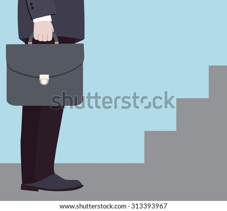 Businessman at the beginning of the road to success (vector illustration, flat concept) - stock vector
