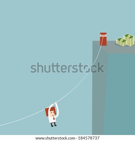 Businessman attempt - stock vector