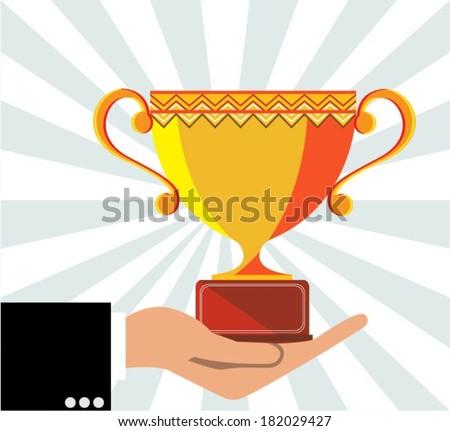 Businessman awarded  - stock vector