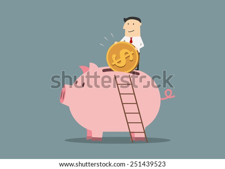 Businessman banking a golden dollar coin into the slot of a giant pink piggy bank having climbed a ladder to reach his goal - stock vector