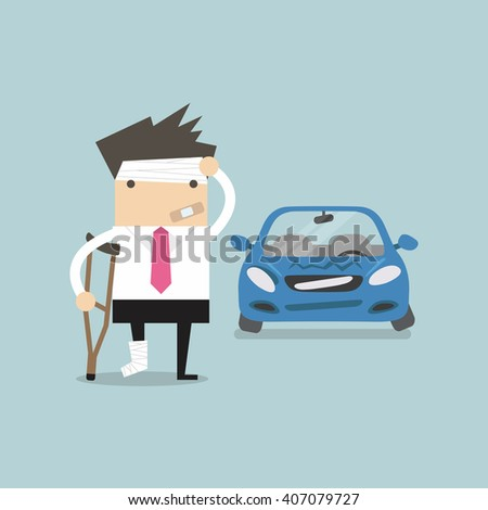 Businessman be injured with car accident vector - stock vector