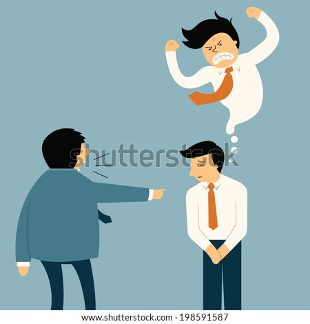 Businessman being complaint by his senior businesspeople, he appear smiley face but in his mind very angry. Funny cartoon illustration in feeling and emotion business concept.  - stock vector