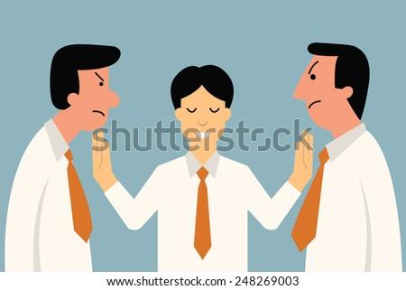 Businessman being mediator between conflict or arguing coworker in office.  - stock vector