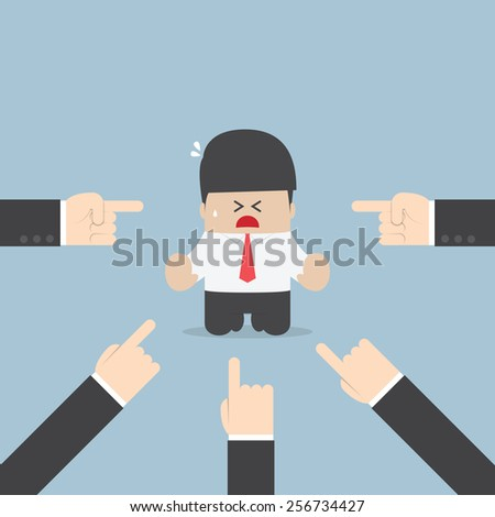 Businessman being pointed by a lot of hands, VECTOR, EPS10 - stock vector