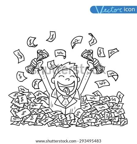 businessman big heap of money - stock vector