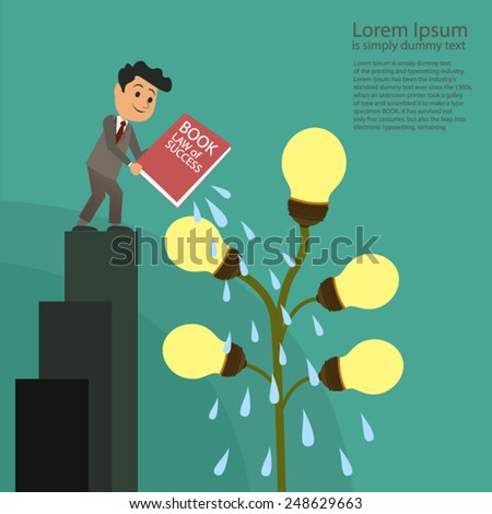 Businessman book watering a plant of ideas - stock vector