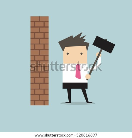Businessman breaking wall with hammer vector - stock vector