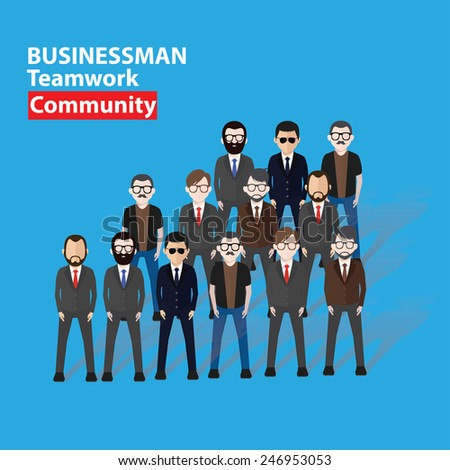 Businessman, business concept on blue background, clean vector - stock vector