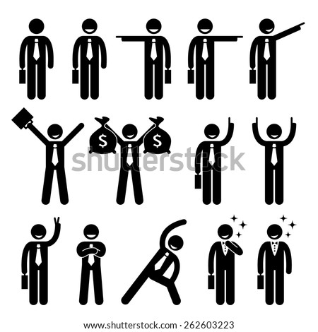Businessman Business Man Happy Action Poses Stick Figure Pictogram Icon - stock vector