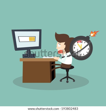 Businessman busy in time pressure working and a clock in a bomb attached - stock vector