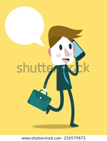 Businessman calling on mobile phone. flat design character. vector - stock vector