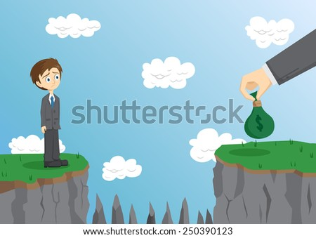 Businessman Can't Jump The Cliff To Get Money - stock vector