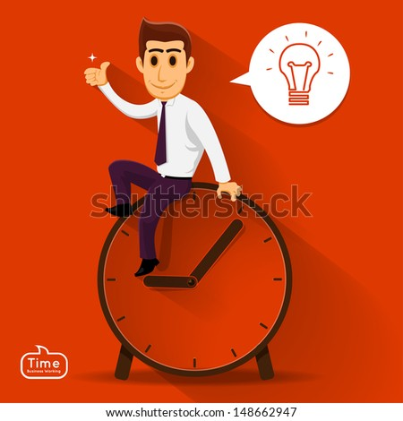 Businessman can think about good idea over time. relax - stock vector