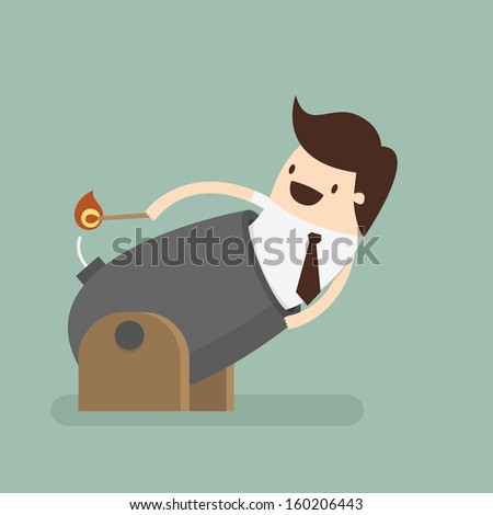 Businessman Cannonball  - stock vector