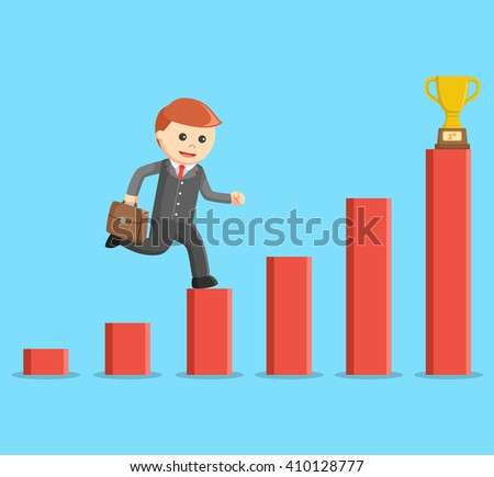 Businessman carrying a suitcase and climbing a bar graph to get a trophy - stock vector