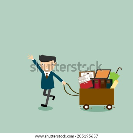 businessman carrying box with many thing to do, he need some help,vector,illustrator. - stock vector