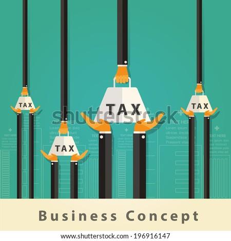 Businessman carrying tax Concept.Vector Design - stock vector