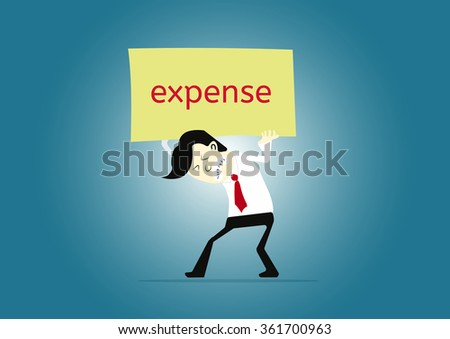 businessman carrying text labels EXPENSE  - stock vector