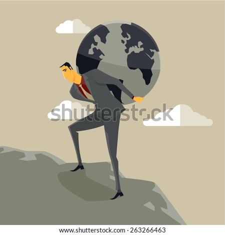 Businessman carrying the earth on his shoulders and climbing a mount. Vector, Illustration. - stock vector