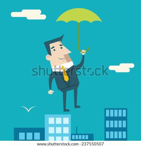 Businessman Cartoon Character with Umbrella Business and Marketing Security Insurance Plan Concept on Urban Sky Background Modern Flat Design Template Vector Illustration - stock vector