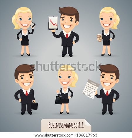 Businessman Cartoon Characters Set1.1 In the EPS file, each element is grouped separately. - stock vector