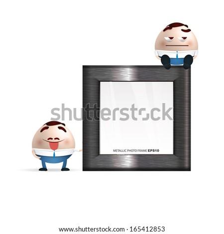 businessman cartoon on a photo frame - stock vector