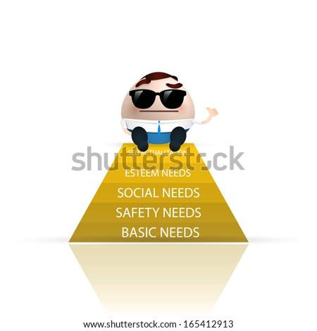 businessman cartoon pyramid of needs - stock vector