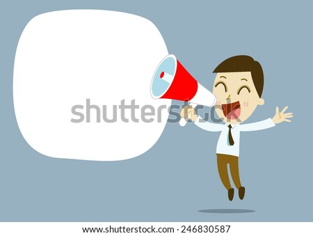 businessman cartoon vector Hand holding a megaphone, promotion marketing concept - stock vector