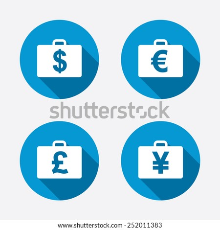 Businessman case icons. Cash money diplomat signs. Dollar, euro and pound symbols. Circle concept web buttons. Vector - stock vector