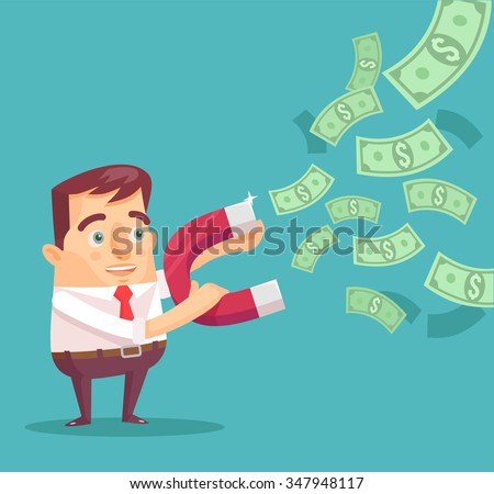 Businessman catches money with money magnet. Vector flat illustration - stock vector