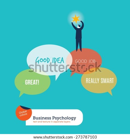 Businessman catching his dream of true compliments. Vector illustration Eps10 file. Global colors. Text and Texture in separate layers. - stock vector