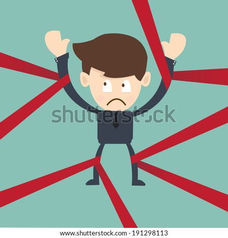 Businessman caught in Red Tape - government regulation and obligation  in business - stock vector