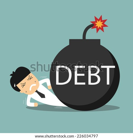 businessman caught with explosive debt - stock vector
