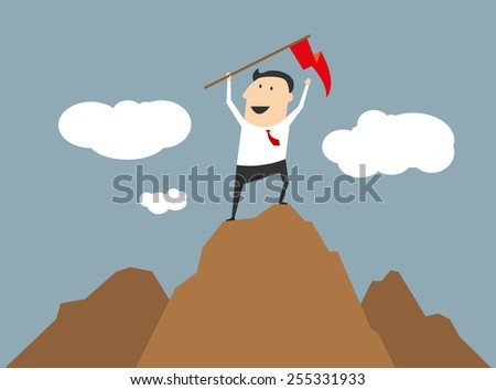 Businessman celebrating his success and achievements standing on top of a mountain summit waving a red flag - stock vector