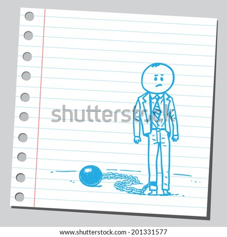 Businessman chained - stock vector