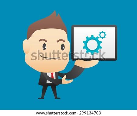 Businessman character holding tablet - vector illustration, EPS10 - stock vector